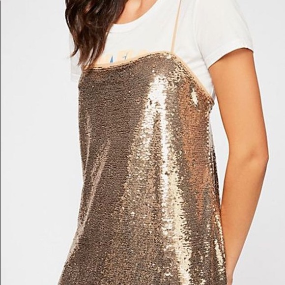 Free People Dresses & Skirts - Free People Gold Sequin Slip